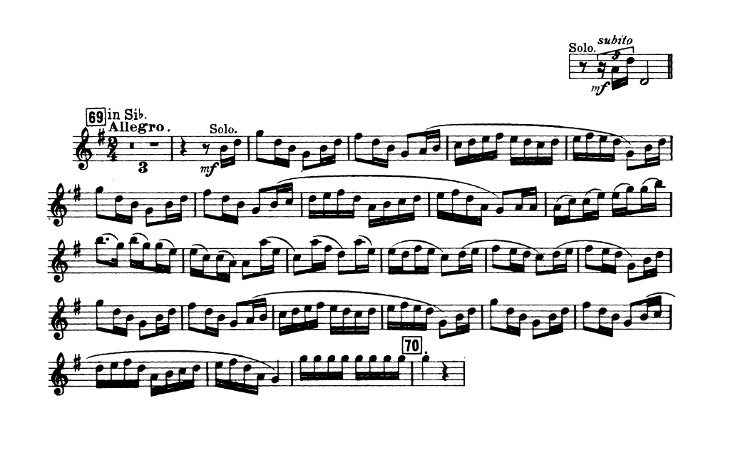 All Music Chords free trumpet solo sheet music : Petrouchka - Trumpet Excerpts